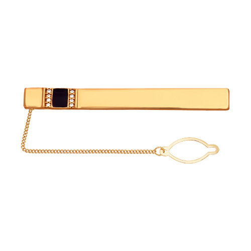 Sokolov Gold Plated Tie Clip With Cubic Zirconia Stripes And Enamel, Fashion Jewelry, Silver, 925, Men's Male
