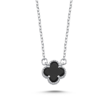 Silver 925 Sterling Black Clover Necklace