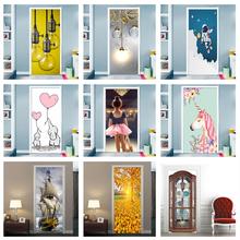 DIY Door Wall Stickers Film Murals Cartoon Light Bulb Home Decor Living Room Kids Rooms Porch Removable Waterproof Wall Paster