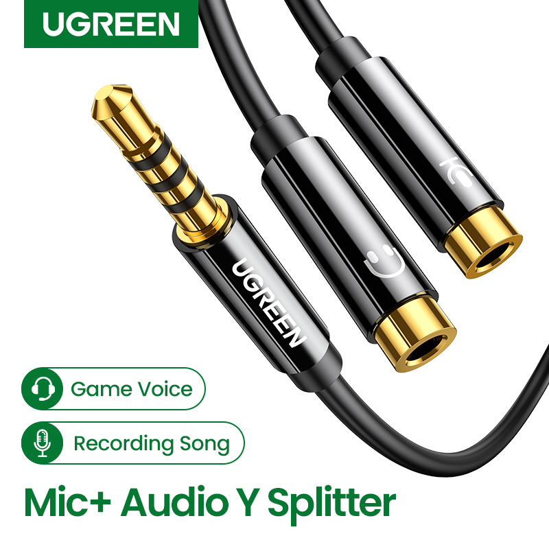 Ugreen 3.5mm Audio Splitter Cable for Computer Jack 3.5mm 1 Male to 2 Female Mic Y Splitter AUX Cable Headset Splitter Adapter