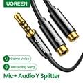 Ugreen 3,5 мм аудио сплиттер, кабель для компьютера, разъем 3,5 мм, 1 штекер на 2 гнездо, микрофон, Y сплиттер, AUX кабель, гарнитура, сплиттер, адаптер