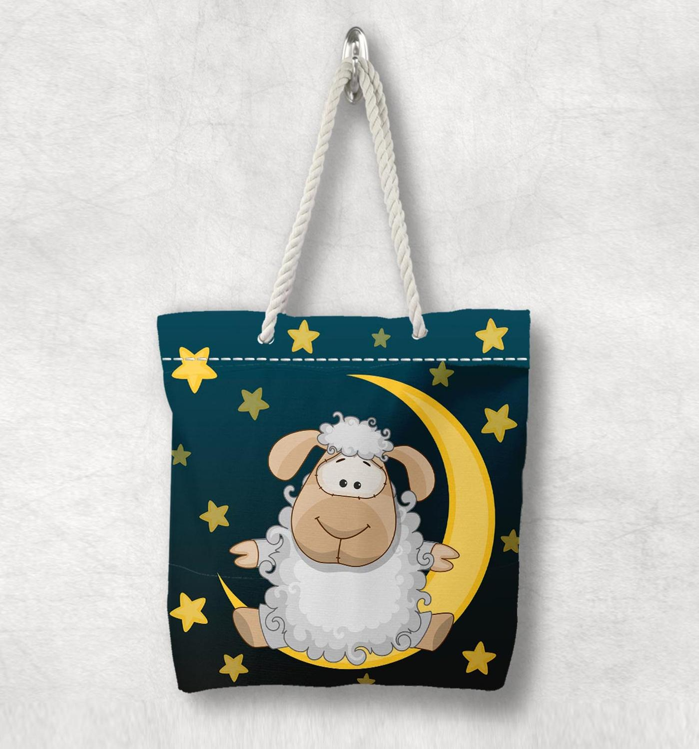 Else Navy Blue Yellow Moon Star Sheep Lamb New Fashion White Rope Handle Canvas Bag Cotton Canvas Zippered Tote Bag Shoulder Bag