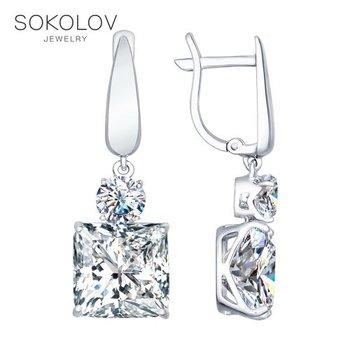 SOKOLOV drop earrings with stones long silver with cubic zirconia fashion jewelry 925 women's male, long earrings