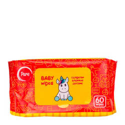 مناديل مبللة للأطفال النقي مناديل مبللة للأطفال (60 قطعة)
