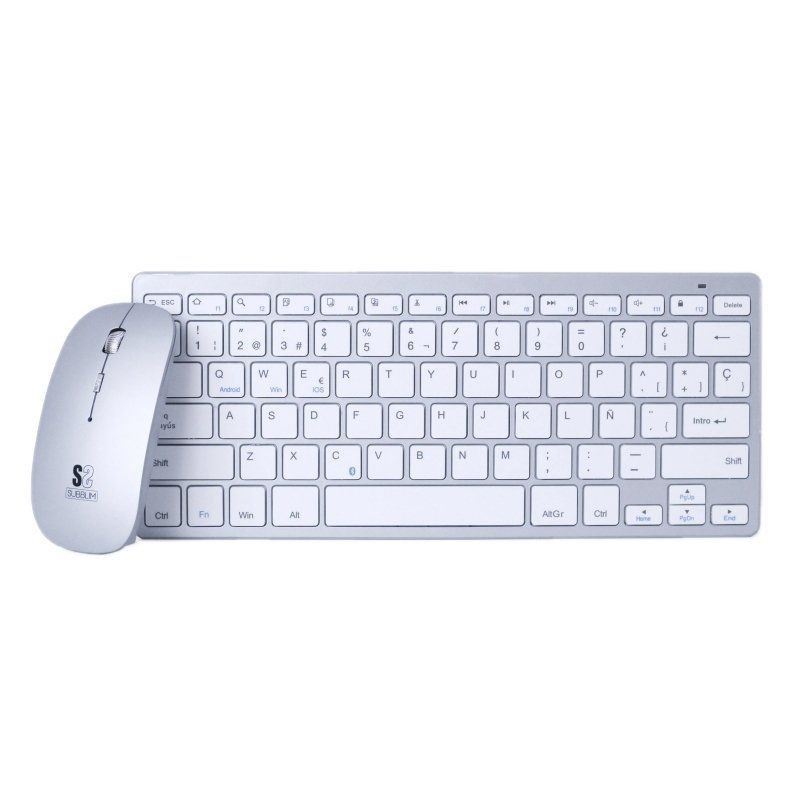 Keyboard And Mouse Subblim Oco001 Dynamic Compact Silver-bluetooth Keyboard 3.0-optical Mouse 1600dpi-compact Design