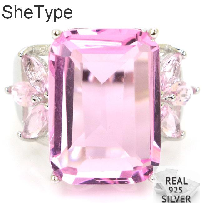 25x18mm 7.7g Big Rectangle Shape 18x13mm Gemstone Pink Kunzite Real 925 Solid Sterling Silver Rings