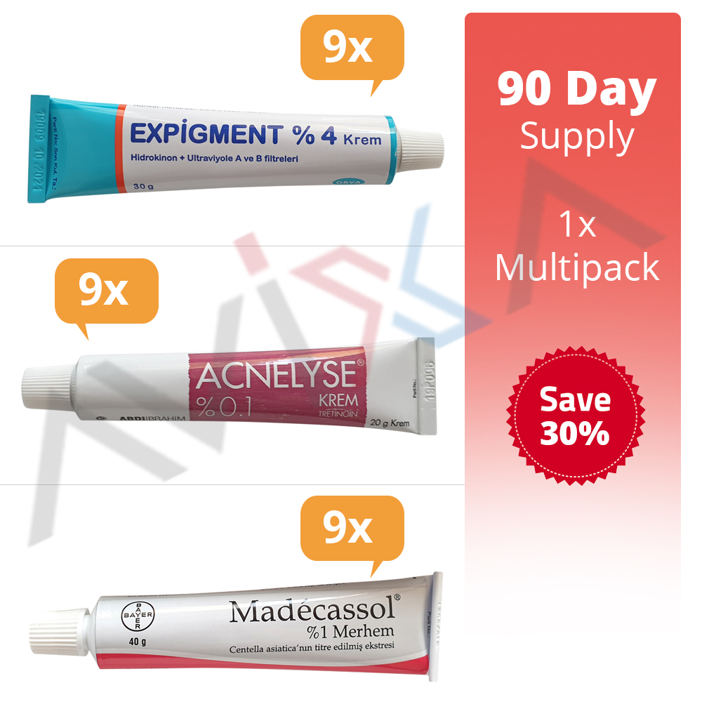 Expigment 4% 30 Gr. + Acnelyse Tretinoin 0.1% 20 GR + Madecassol 1% 40 Gr. -90 tag Liefern-9 x Multi