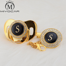 MIYOCAR name Initial letter S elegant silver bling pacifier and clip BPA free dummy unique design SGS pass LS