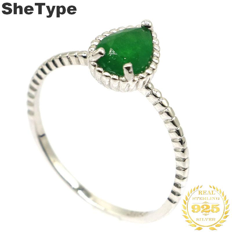 10x8mm SheType 2019 Simple Style 1.9g Real Green Emerald Drop Shape Gift For Girls 925 Solid Sterling Silver Rings