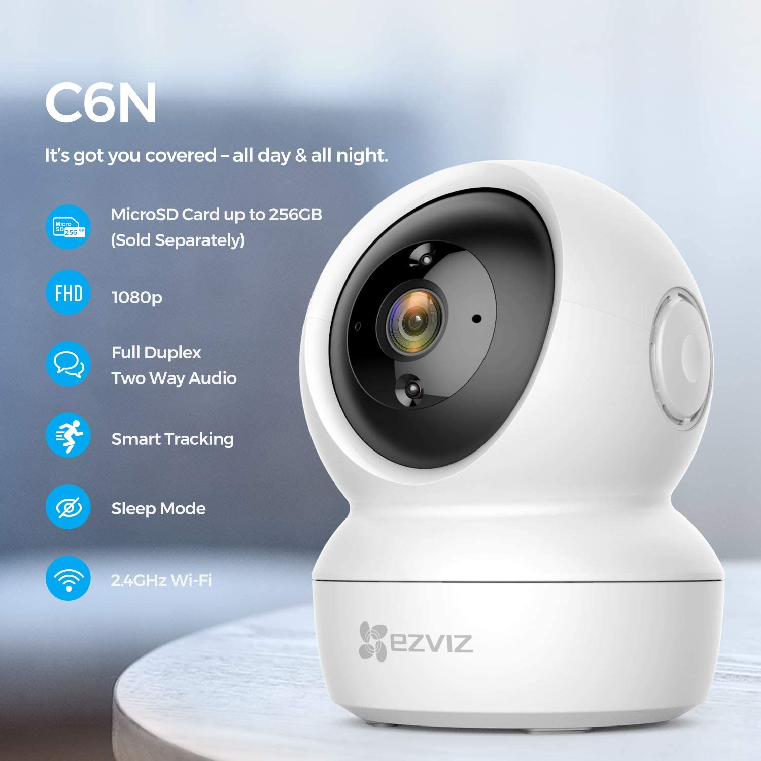 EZVIZ C6N Pan/Tilt Security Camera 1080p Indoor Dome Smart IR Night Vision Motion Detection Auto Tracking Two-Way Audio