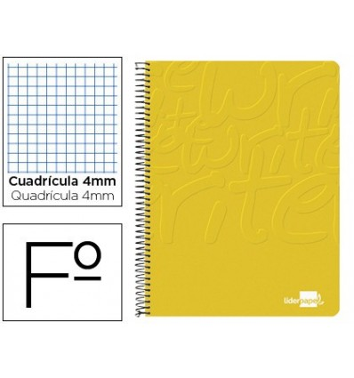 SPIRAL NOTEBOOK LEADERPAPER FOLIO WRITE SOFTCOVER 80H 60GR FRAME 4MM MARGIN YELLOW 10 PCs