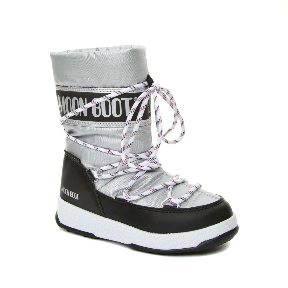 Moon Boot Silver Boys Snow Boots 34051300-001 We Sport Jr Wp Silver-Black classic after-ski boots