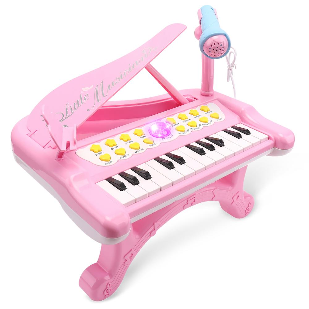 Musical Piano Instruments Microphone Keyboard For Kid Sound Lights Children From 1 To 3 Battery Baby Infant Toddler Girls 2019