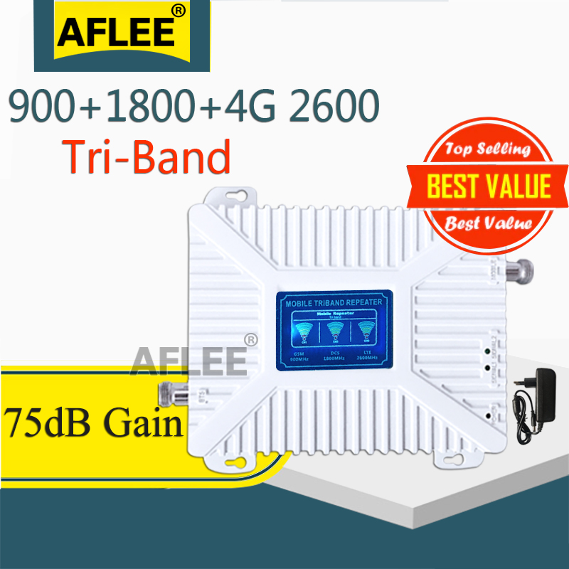 1PCS GSM Signal Repeater 900 1800 2600 Tri-Band Booster 2G 3G 4G LTE 1800 Cellular Signal Amplifier Cell Phone Signal Repeater