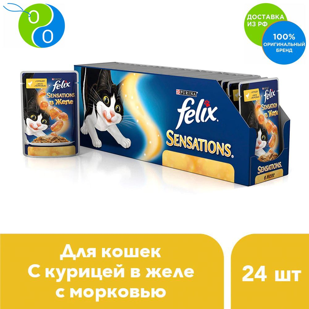 Set Felix Sensations wet food for cats with chicken in jelly with carrots, spider 85 g x 24 pcs.,Felix, Purina, Pyrina, Adult cats, for cats, package, pet food, Purina, with meat, poultry, fish, dry, Felix wet food felix nature taste for adult cats with beef 24 pouch x 85 g