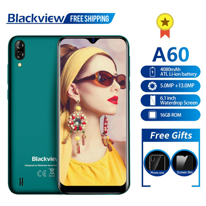 Free Shipping A60 Smartphone Quad Core Android 8.1 4080mAh Cellphone 1GB+16GB 6.1 inch 19.2:9 Screen Mobile Phone Dropshipping