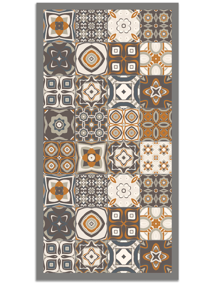 Panorama® Vinyl Rug Printed With Vintage Tiles Design In Orange Colour | Kitchen Carpet | Living Room Rug | XXL Rugs | PVC Rugs…