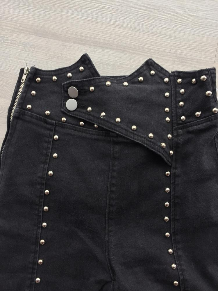 Heavy Rivets Jeans For Women High Waist Tunic Ankle Length Denim Trousers Female Fashion Pencil Pants  Autumn photo review