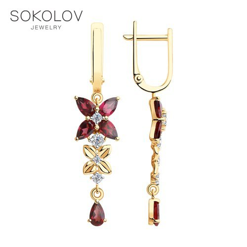 SOKOLOV Drop Earrings With Stones With Stones Of Gold And Cubic Zirconia Rhodolites Fashion Jewelry 585 Women's Male