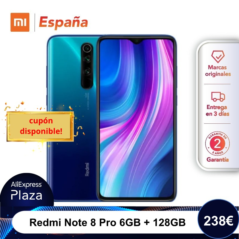 Xiaomi Redmi Note 8 Pro (128GB ROM, 6GB RAM, Cámara de 64MP , Android, Nuevo, Libre) [Teléfono Movil Versión Global para España] note8pro