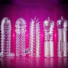 5pcs/set Reusable TPE Crystal Penis Sleeve Condom Extendtion Time Delay Soft G Point Kondom Safer Sex Toy for Men Couples