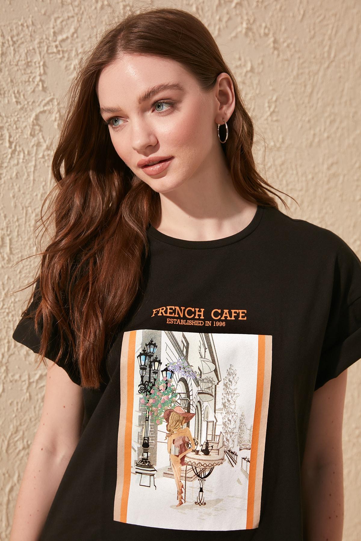 Trendyol Printed Boyfriend Knitted T-Shirt TWOSS20TS0233