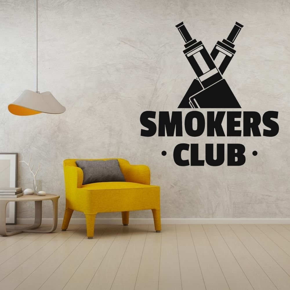<font><b>Smokers</b></font> Club E-Cigarette Silhouette Wall Art Decals Wall Vinyl Sticker <font><b>Vape</b></font> Design For <font><b>Vape</b></font> Shop Decoration A001728 image