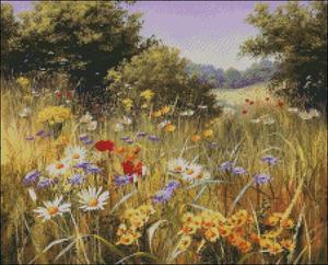 Image 2 - Geteld Borduurpakketten Handwerken Borduren Ambachten 14 ct Aida DMC Kleur DIY Arts Handgemaakte Interieur Zomer wildflowers