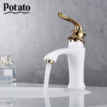 Potato 3 Colors Bathroom Basin Faucet Hollow Shape Bath Cold And Hot Waterfall Faucets Single Handle Water Mixer Tap p10219