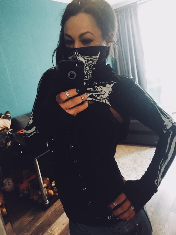Instahot Gothic Punk Hooded Hoodies Women Black Skeleton Print Mask Long Sleeve Crop Tops  Fashion Halloween Top Sweatshirt photo review