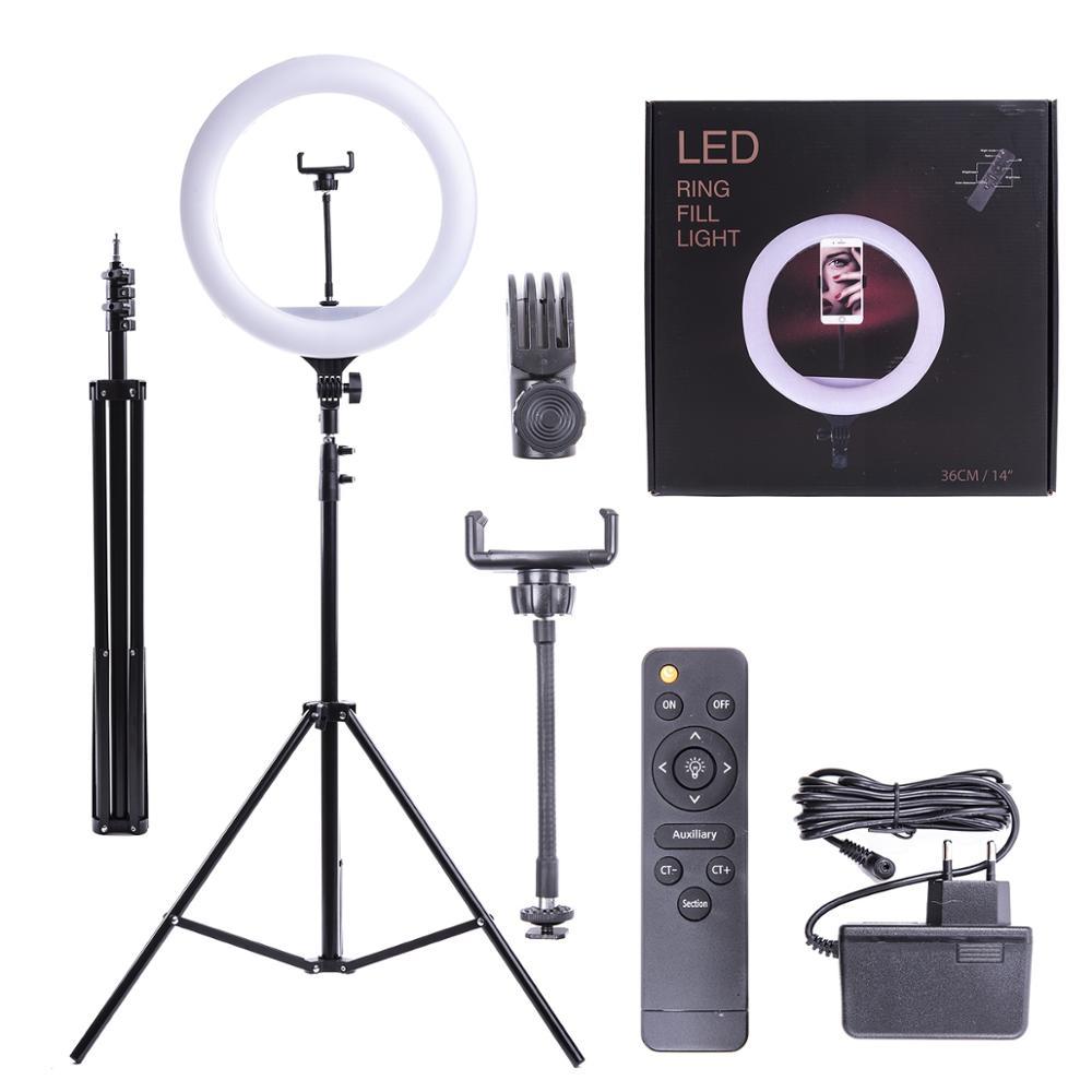 Кольцевая лампа со штативом Raygood MJ26 цветная. Для фото и видеосъёмки 26 см С держателем для телефона шириной 6 9 см на ги|Макро- и кольцевые светильники| | АлиЭкспресс