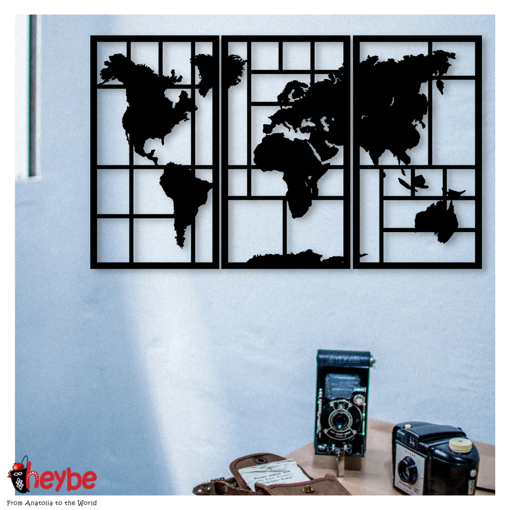 Wooden Wall Art and Decoration World Map Plaid 3 Piece Decor Black Color Modern Home Office School Living Room Bedroom Study Room New Quality Gift Ideas Creative Stylish Decorative Modern Ornament Beautiful Cute