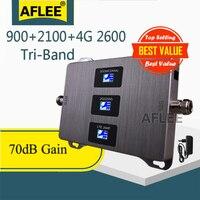 1 pçs 900 2100 2600 tri-band celular amplificador 4g celular repetidor gsm 2g 3g 4g sinal móvel impulsionador gsm wcdma lte conjunto
