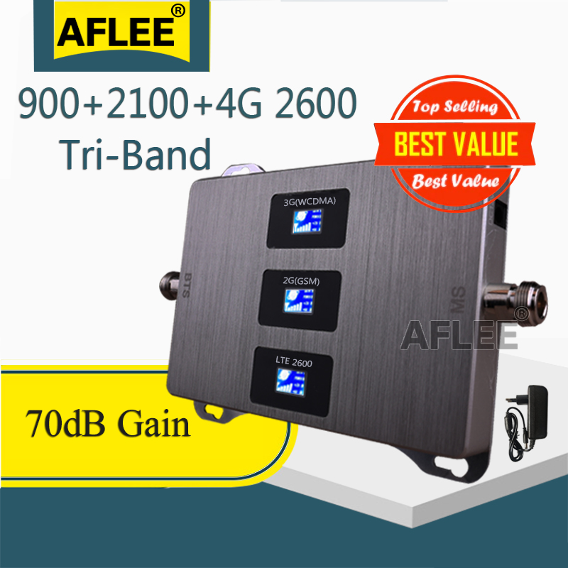 1PCS 900 2100 2600  Tri-Band Cellular Amplifier 4G Cell Phone Repeater GSM 2G 3G 4G Mobile Signal Booster GSM  WCDMA LTE Set