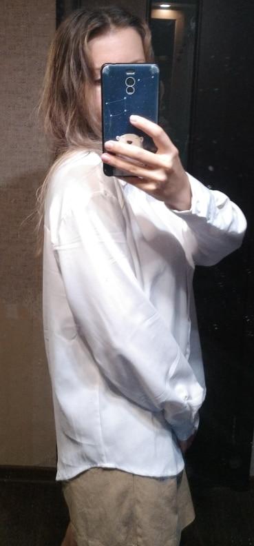 Summer New Arrival Women Solid Black Chiffon Blouse Long Sleeve Casual Shirt Women's Korean BF Style Chic Tops Feminina Blusa T0 photo review