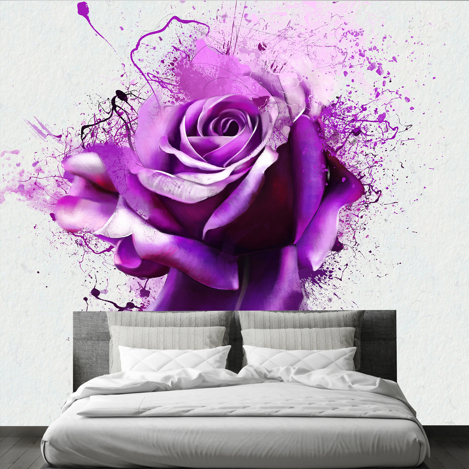 3D Wall Mural Flowers Abstraction. Purple Lilies Wallpaper. Stereoscopic Wall Mural For Home Hall Bedroom