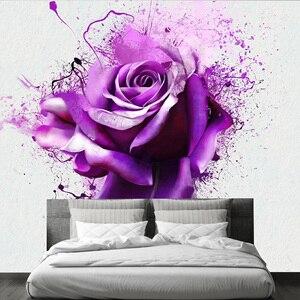3d Фотообои цветы абстракция. Обои фиолетовые лилии. Стереоскопические фотообои для спальни зала дома
