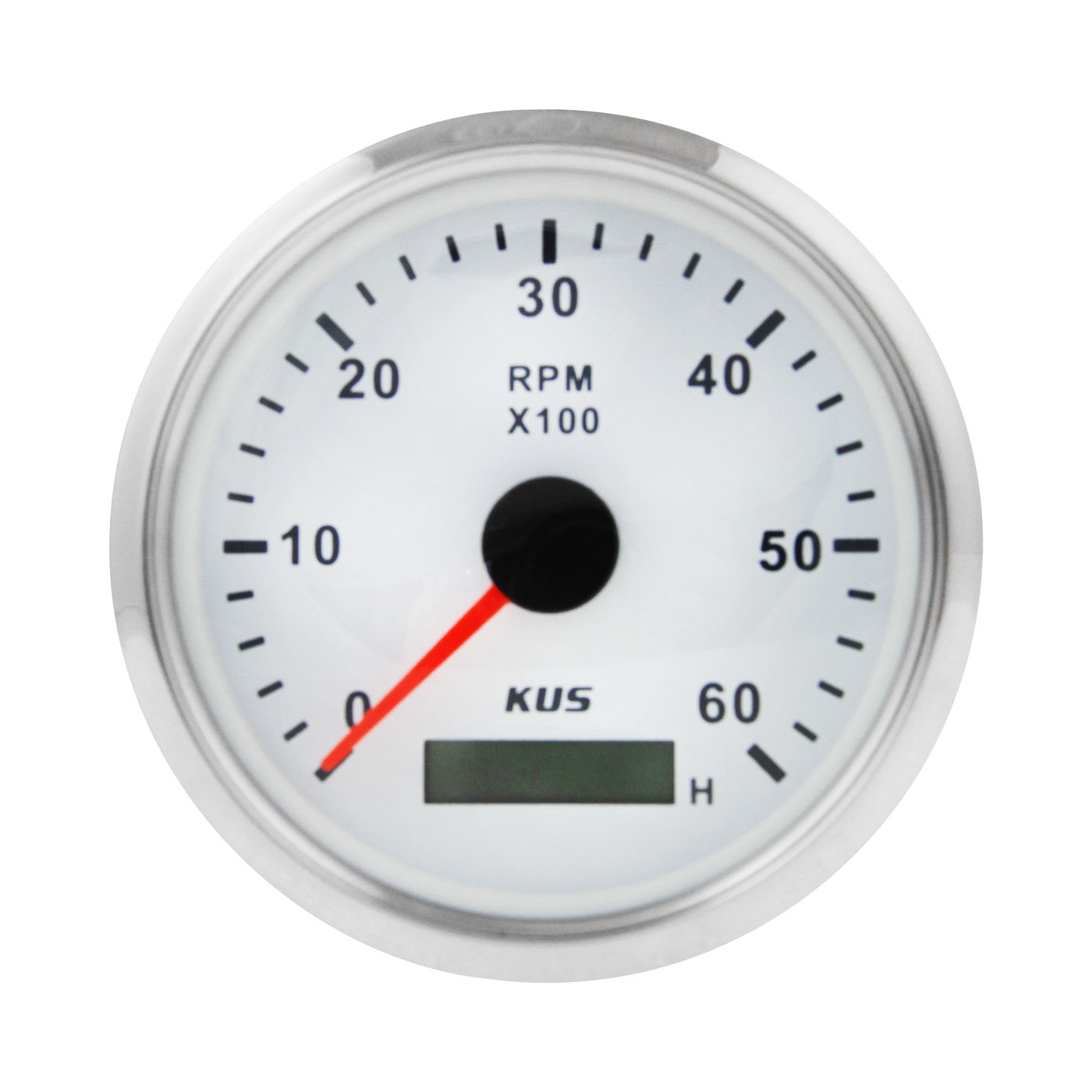 Tachometer 0-6000 Rev/min With Hour Meter Divider 0.5-250 White Dial, Stainless Steel Bezel. 85mm KY07101