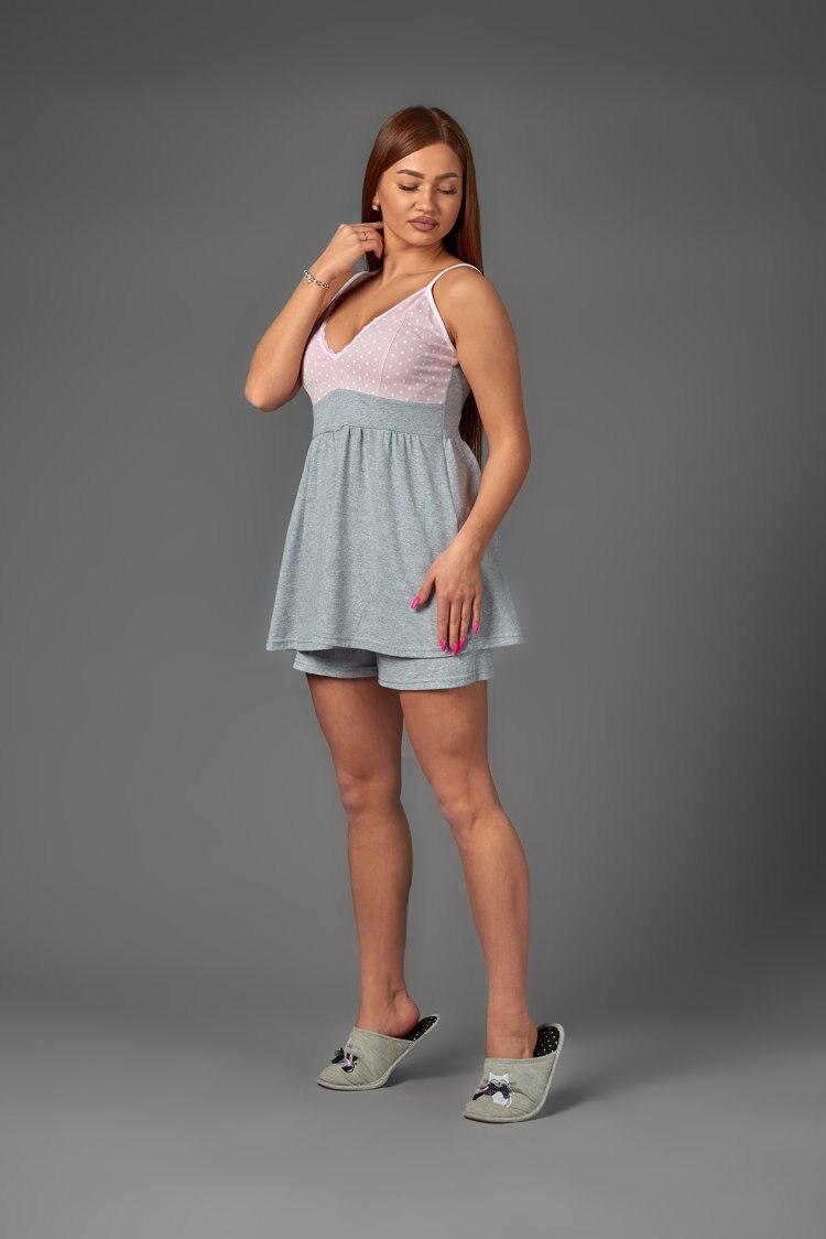 Atoff Home Women's Pajamas ZHP 038 (Gray + Peas On Pink)