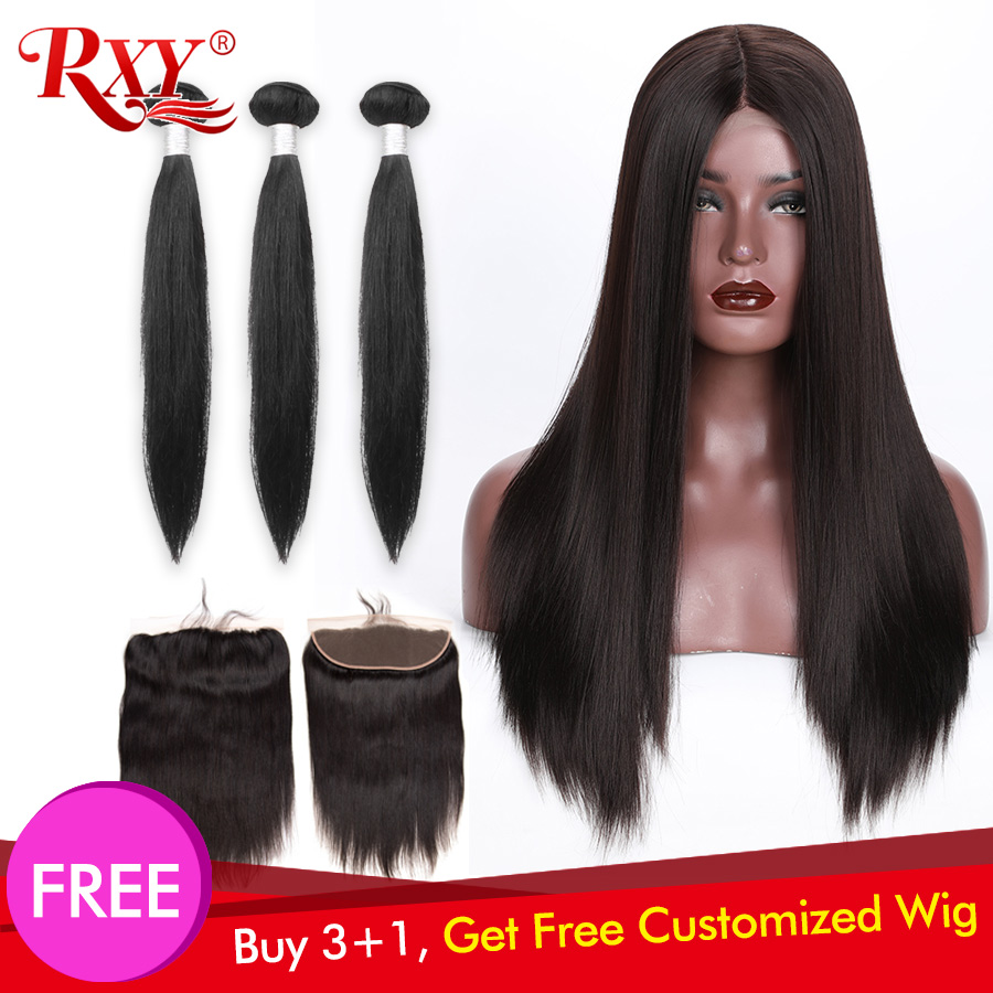 300 Density Free Customized Straight 13x4 Lace Frontal Wigs By Remy Brazilian Straight Human Hair Bundles With Frontal Closure