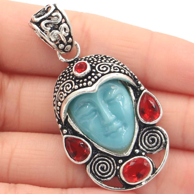 51x27mm Awesome Egypt Goddess White Face, Red Ruby Woman's Gift Silver Pendant