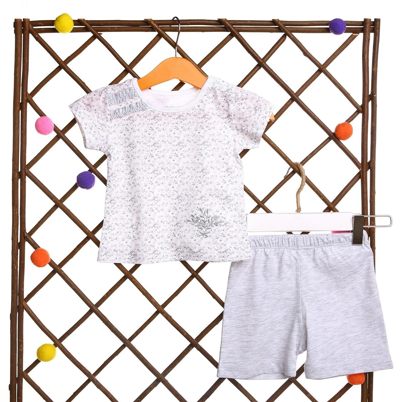 Ebebek HelloBaby Flower Theme Baby Girl Tshirt Short Set
