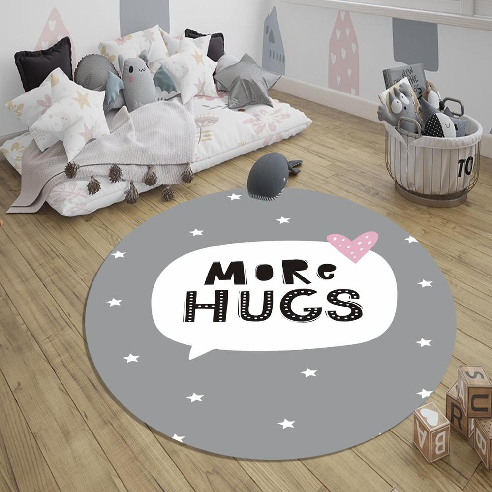 Else More Hugs Stars 3d Pattern Print Anti Slip Back Round Carpets Area Round Rug For Kids Baby Children Room