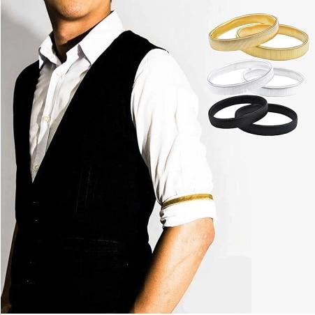 Men Shirt Sleeve Holder Anti-slip Metal Armband Stretch Garter Casual Elastic Armband Stretch Garter Wedding Elasticate Armband