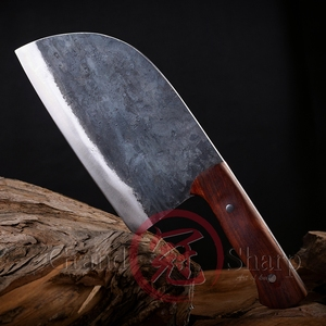 Image 4 - בעבודת יד סיני קופיץ שף סכין מנגן פלדה אקו ידידותי מטבח חיתוך לקצוץ בישול בית כלים מנגל גאדג טים עץ ידית