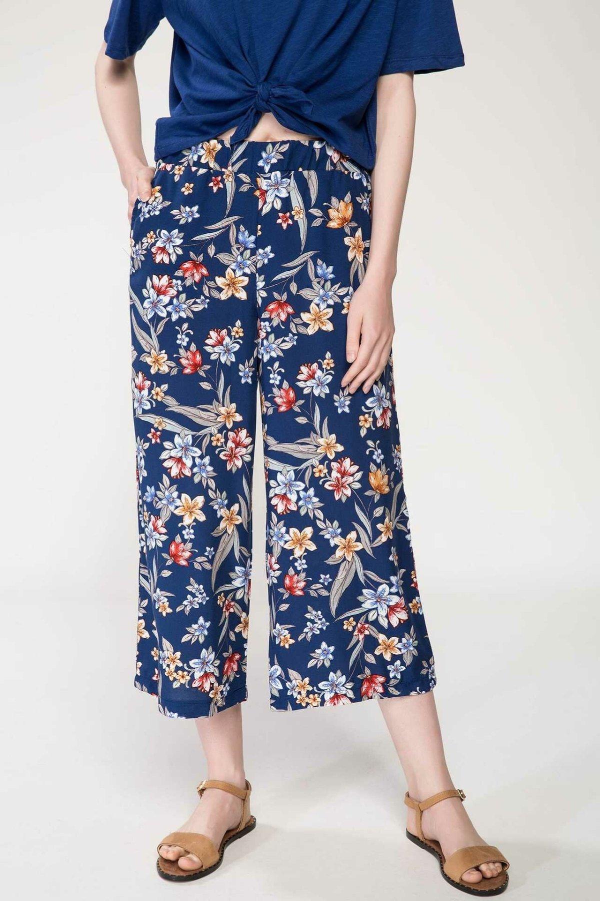 DeFacto Summer Casual Prints Wide Leg Pants Women Loose Floral Striped Bottoms Women Elastic Ninth Trousers-I3771AZ18SM