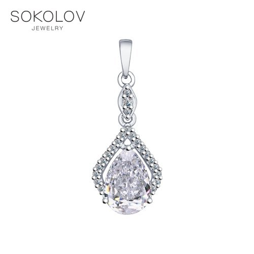 Pendant SOKOLOV From Silver With Cubic Zirkonia Fashion Jewelry 925 Women's Male