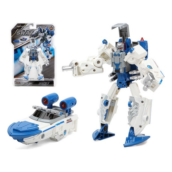 Transformable Super Robot Swat White Blue