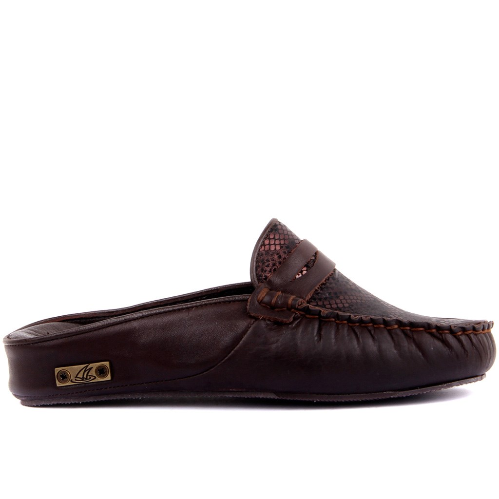 Sail Lakers-Brown Leather Printed Women 'S Outdoor Slipper