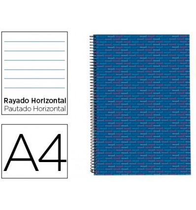 SPIRAL NOTEBOOK LEADERPAPER A4 MICRO MULTILIDER LINED TOP 140H 80GSM HORIZONTAL 5 BANDS 4 HOLES BLUE